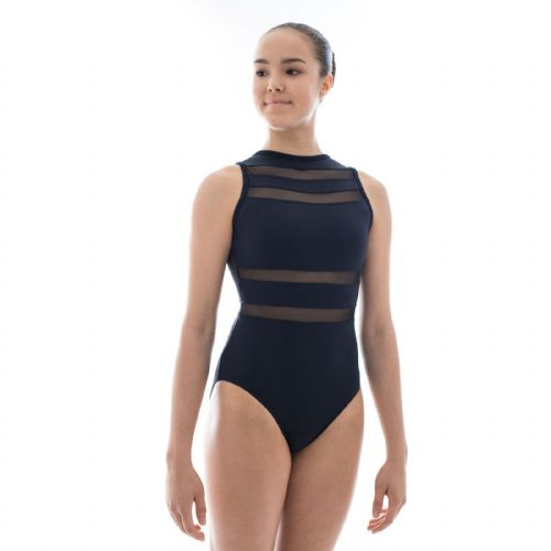 Taglia Basilica Contemporary Dance Leotard Ramona Tactel with Sheer Mesh Black